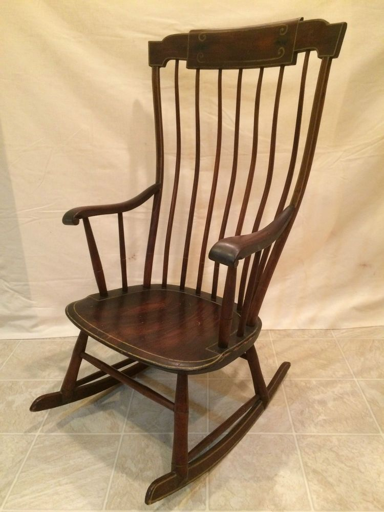 ANTIQUE FEDERAL PERIOD BOSTON ROCKING CHAIR ROCKER HITCHCOCK STYLE/ WINDSOR - ANTIQUE FEDERAL PERIOD BOSTON ROCKING CHAIR ROCKER HITCHCOCK STYLE