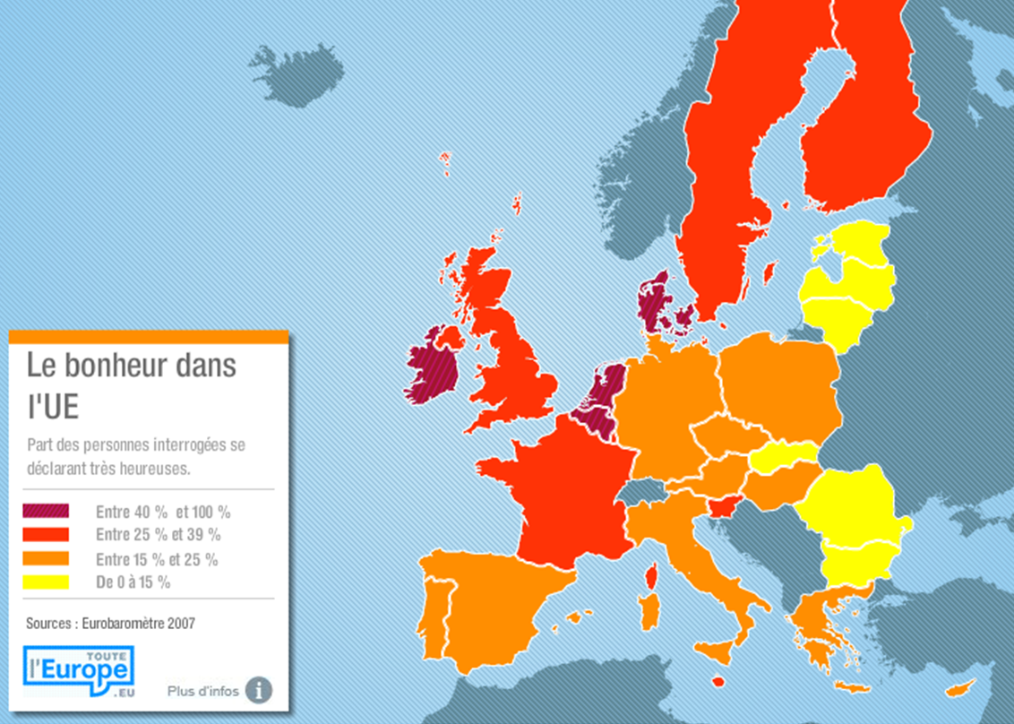 Le Bonheur Dans L Ue French Culture Infographic Poster