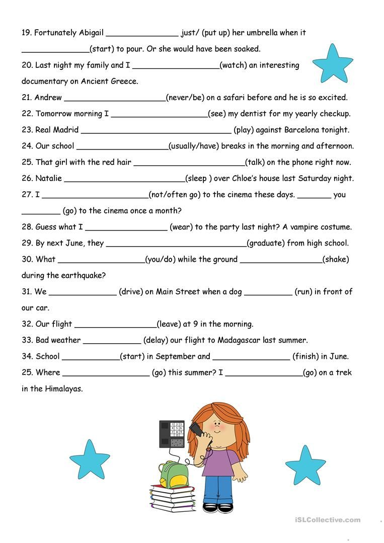 All Tenses Review with KEY worksheet Free ESL printable