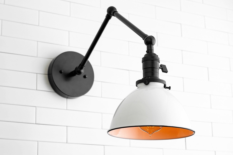 Articulating Light Farmhouse Lighting Swing Arm Sconce White Shade Black Shade Bedside Light Bathroom Lighting Model No 8551 Metal Light Shade Bedside Lighting Wall Sconce Lighting Bathroom