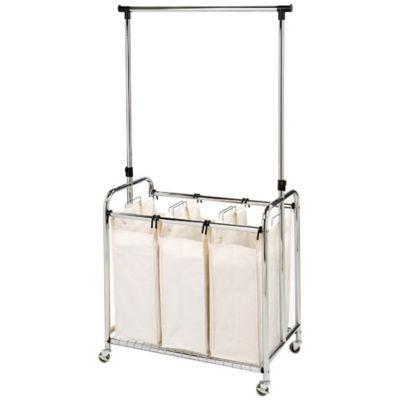 Seville Classics 3 Bag Laundry Sorter Hamper Cart With Hanging Bar In Natural Laundry Sorter Laundry Cart Laundry Center