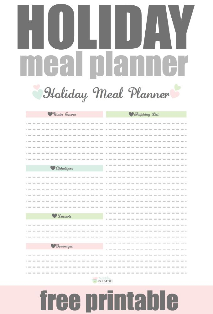 Holiday Meal Planner Free Printable Holiday Meal Planner Meal Planner Holiday Recipes