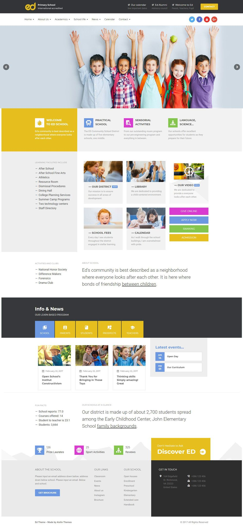 Modern And Creative School Website Designs For Inspiration Web Design School Webpage Design Inspiration School Website