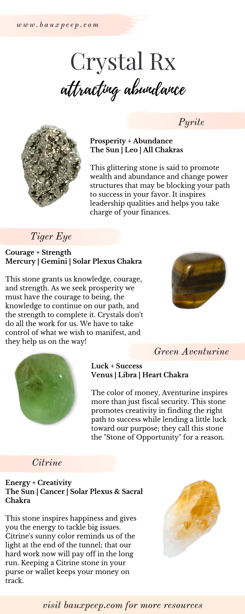 What's your Crystal Rx? Looking for the best crystals to attract abundance? Here a four of the BEST crystals for promoting prosperity and abundance in your life. Check out the blog for more FREE crystal healing resources ! #crystals #crystalmeanings #crystalrx #crystalsforabundance #moneycrystals #prosperitycrystals #crystalhealing #howtousehealingcrystals #crystalhealing