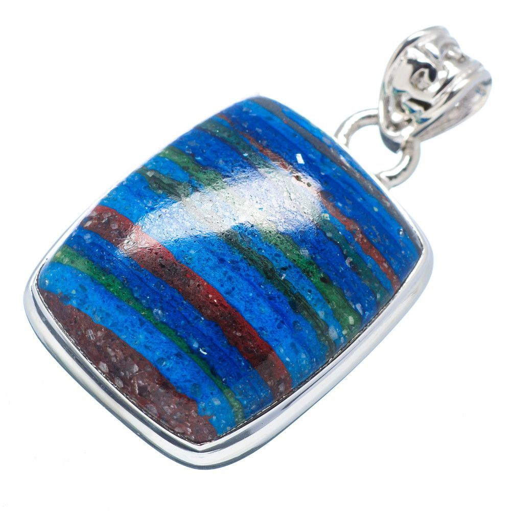 """Rainbow Calsilica 925 Sterling Silver Pendant 1 1/2"""" PD518093"""