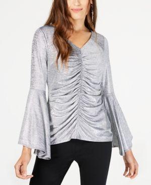 e435c6fbf1145 Thalia Sodi Ruched Bell-Sleeve Shimmer Top