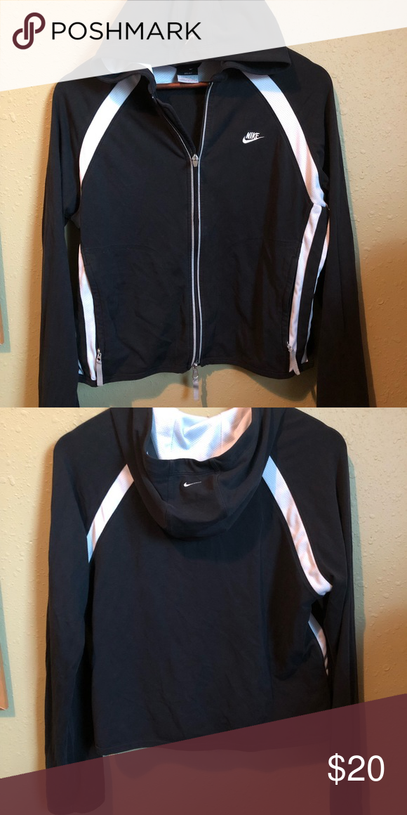 1a080c783 Women's Sports Jacket Black with white stripes, perfect for working out in cold  weather! Nike Jackets & Coats Utility Jackets