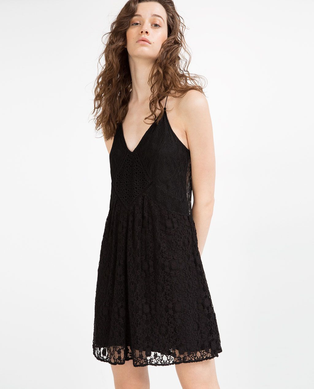 Image of contrast lace dress from zara street style wannabe