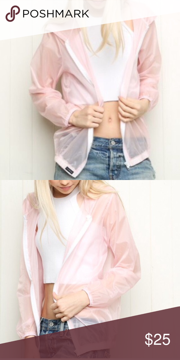 Brandy light pink windbreaker great condition Brandy Melville Tops Sweatshirts & Hoodies