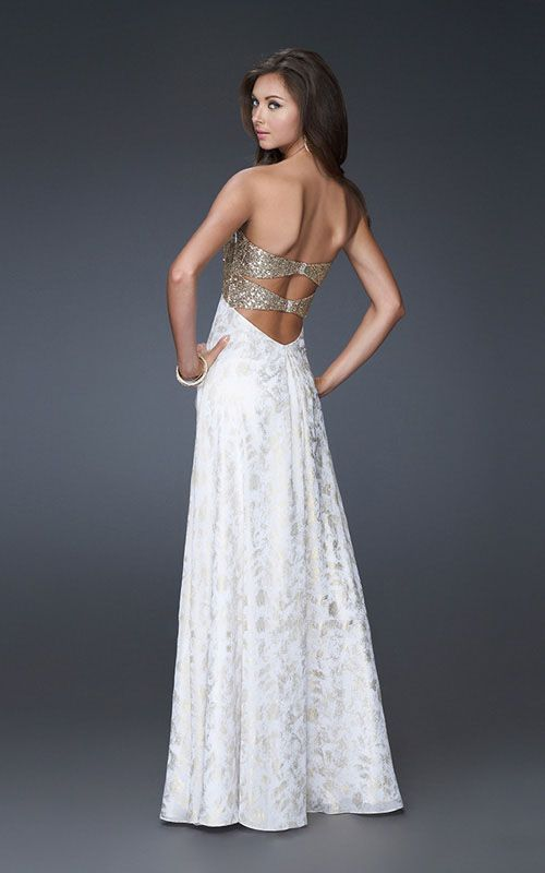 gold prom dresses | 2013 Gold Sequin Top White Print Strapless Prom ...