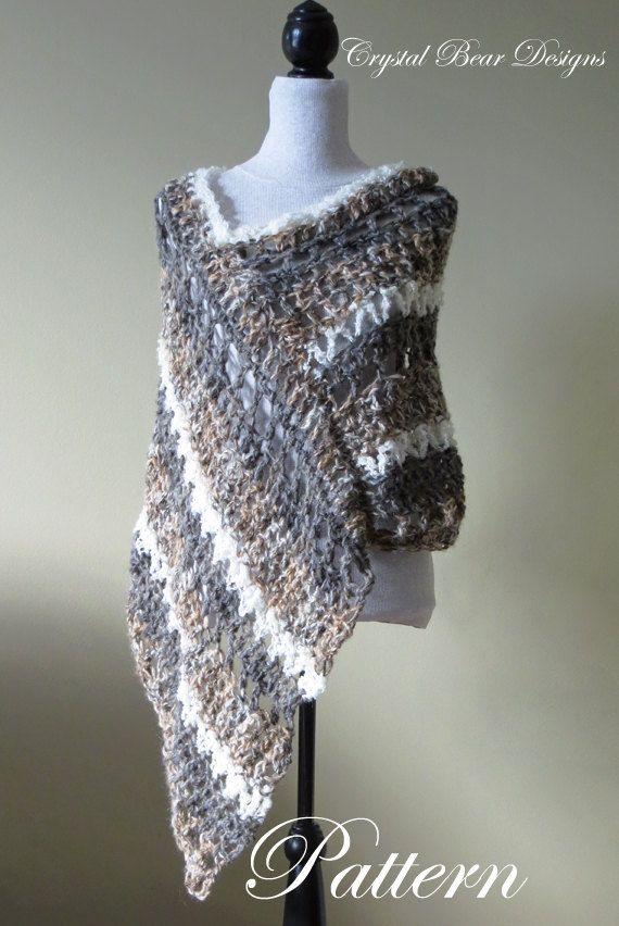 Crochet Poncho Pattern Asymmetrical Poncho Striped Wrap Easy