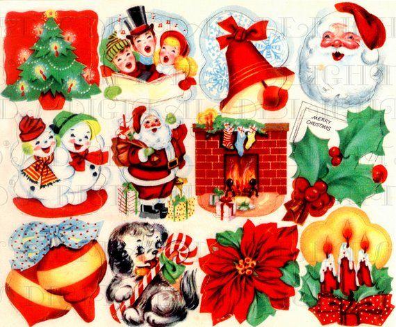 Digital Christmas Cards.Retro Digital Vintage Christmas Stickers Vintage Digital