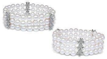 6.5x7mm AA Quality Poppy Japanese Akoya Triple Strand Cultured Pearl Bracelet - 7 inches American Pearl. $1750.00