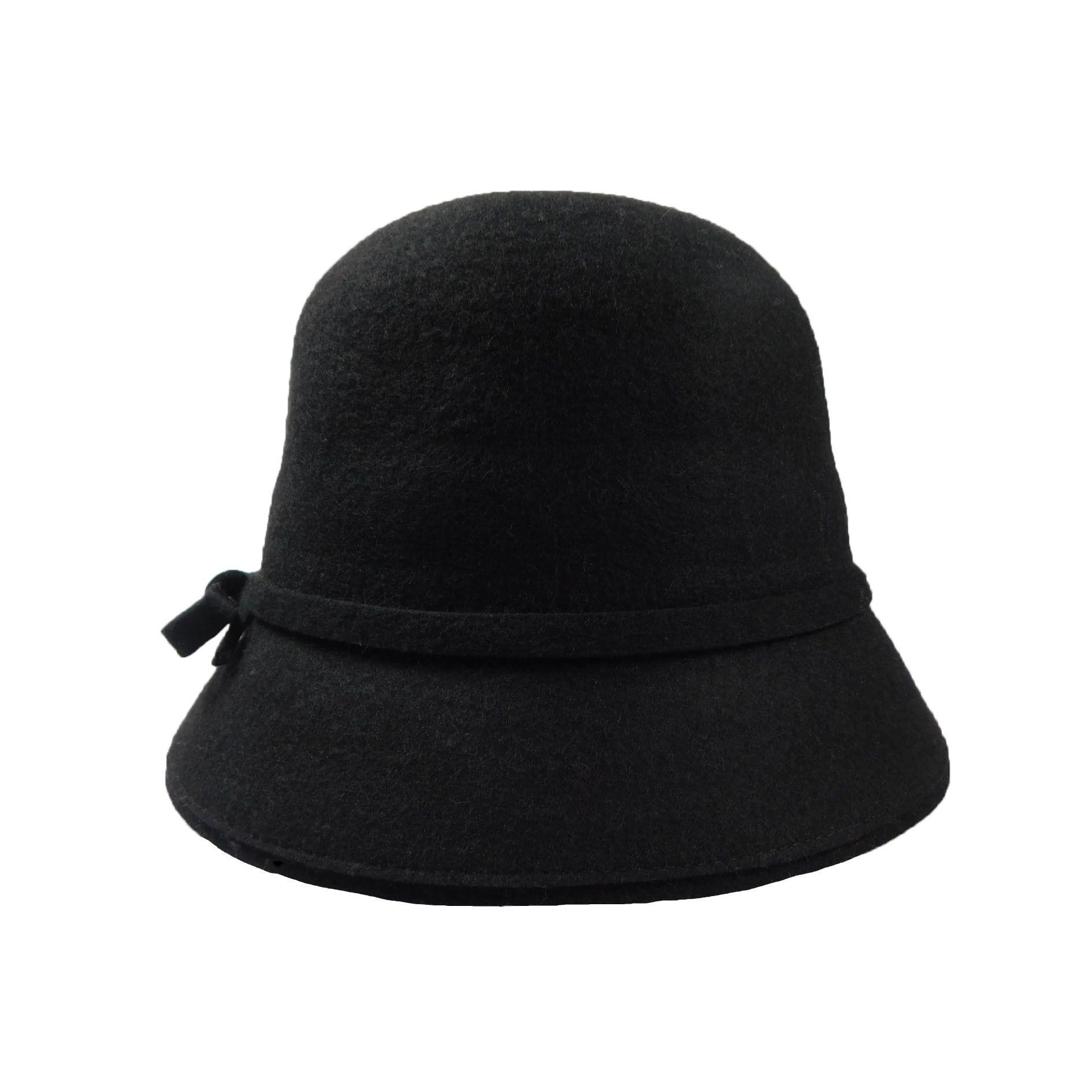 108d4bba200 Simply elegant wool felt bell shape hat. Black felt band with bow and trim.  2