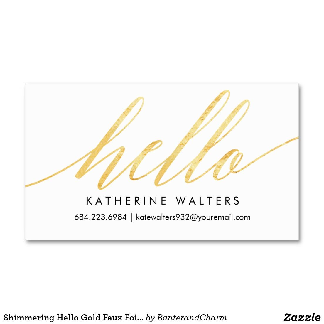 Shimmering hello gold faux foil calling card calling cards and shimmering hello gold faux foil calling card pack of standard business cards colourmoves