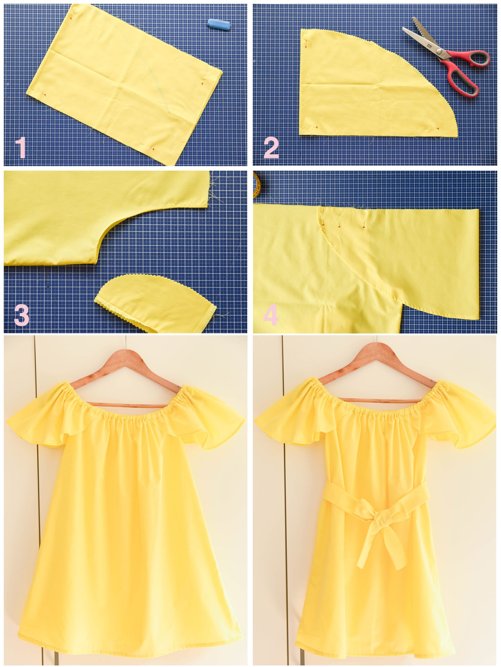 Diy Tutorial Off The Shoulder Top And Dress Thepetitecat Flared Sleeves Diy Dress Petite Outfits Kids Fashion Diy