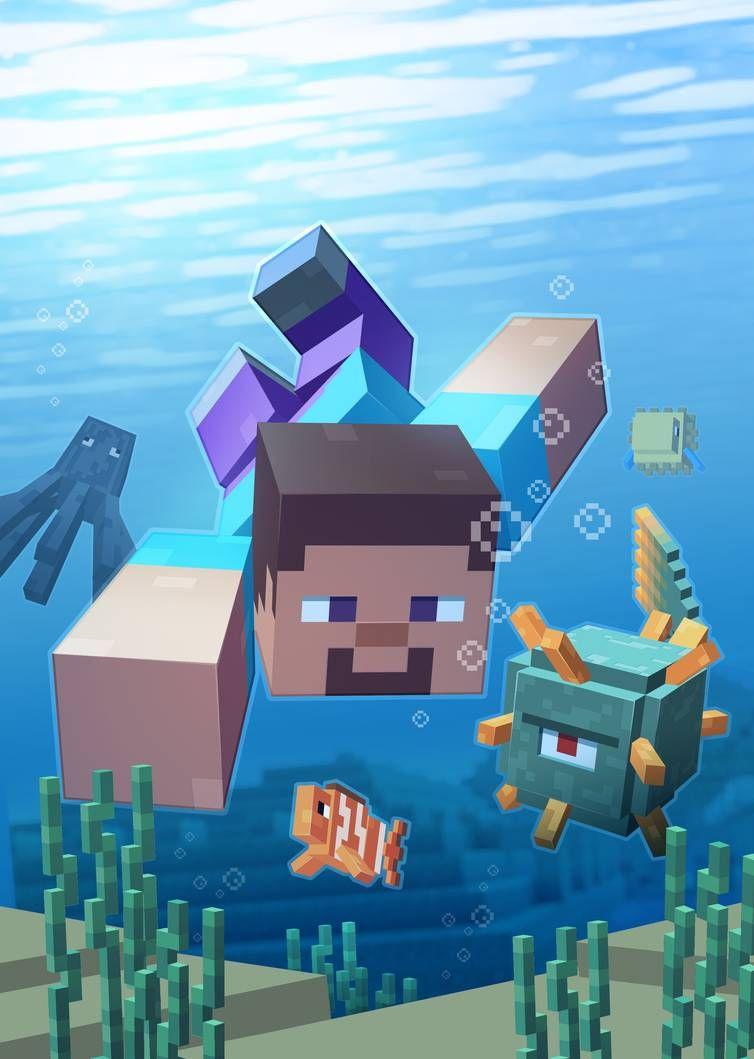 Blub Blub By Lukali Papel De Parede Minecraft Desenhos Minecraft Minecraft