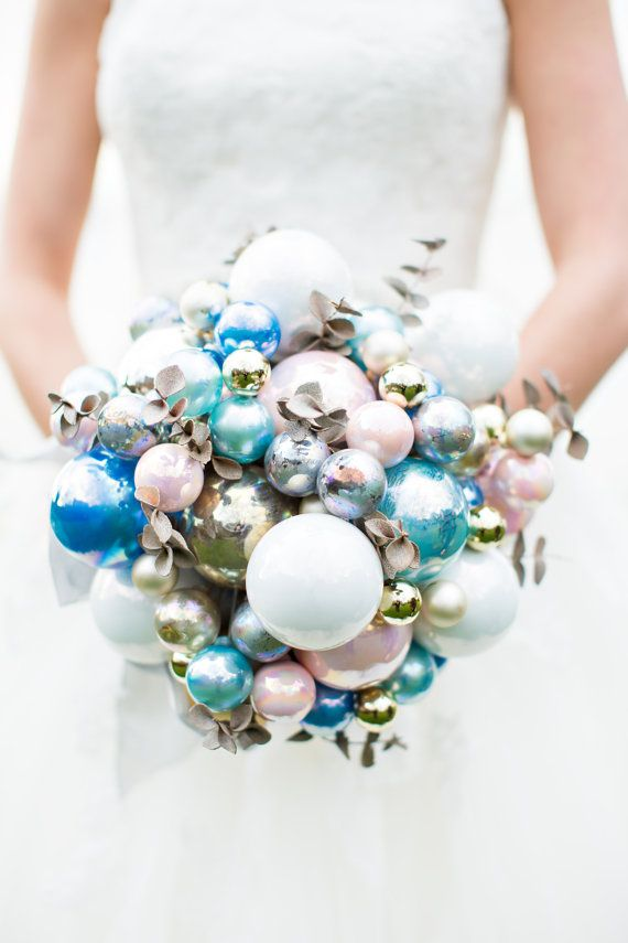 CUSTOM CHRISTMAS Bridal Ornament Bouquet  to by LionsgateDesigns ... Nifty idea, esp. for a holiday wedding.