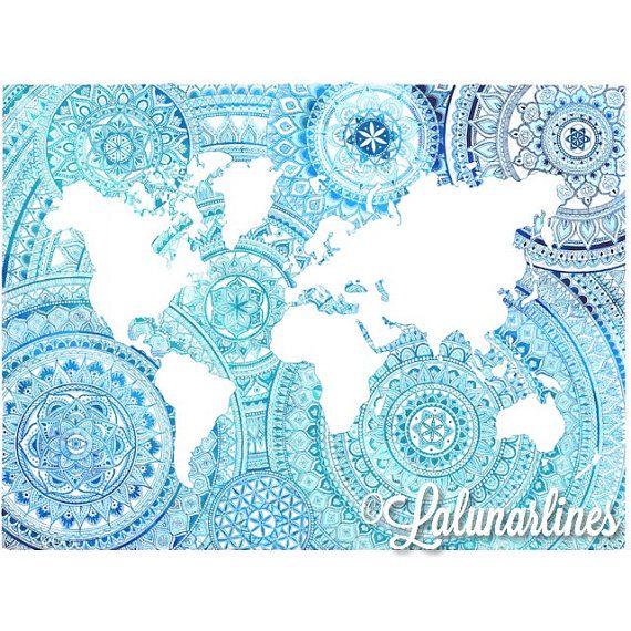 Ombre oceans mandala world map print mandala mandalas and drawings ombre oceanen mandala wereld kaart afdrukken pencil drawingszentanglehand paintedworldmapmandalasdrawingspainting gumiabroncs Images