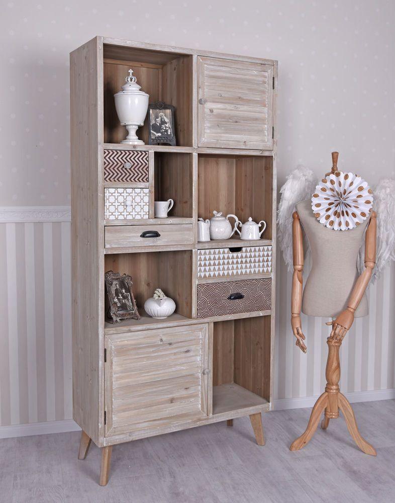 details zu wohnzimmerschrank loft regal vintage schrank bcherregal anrichte - Ebay Wohnzimmerschrank