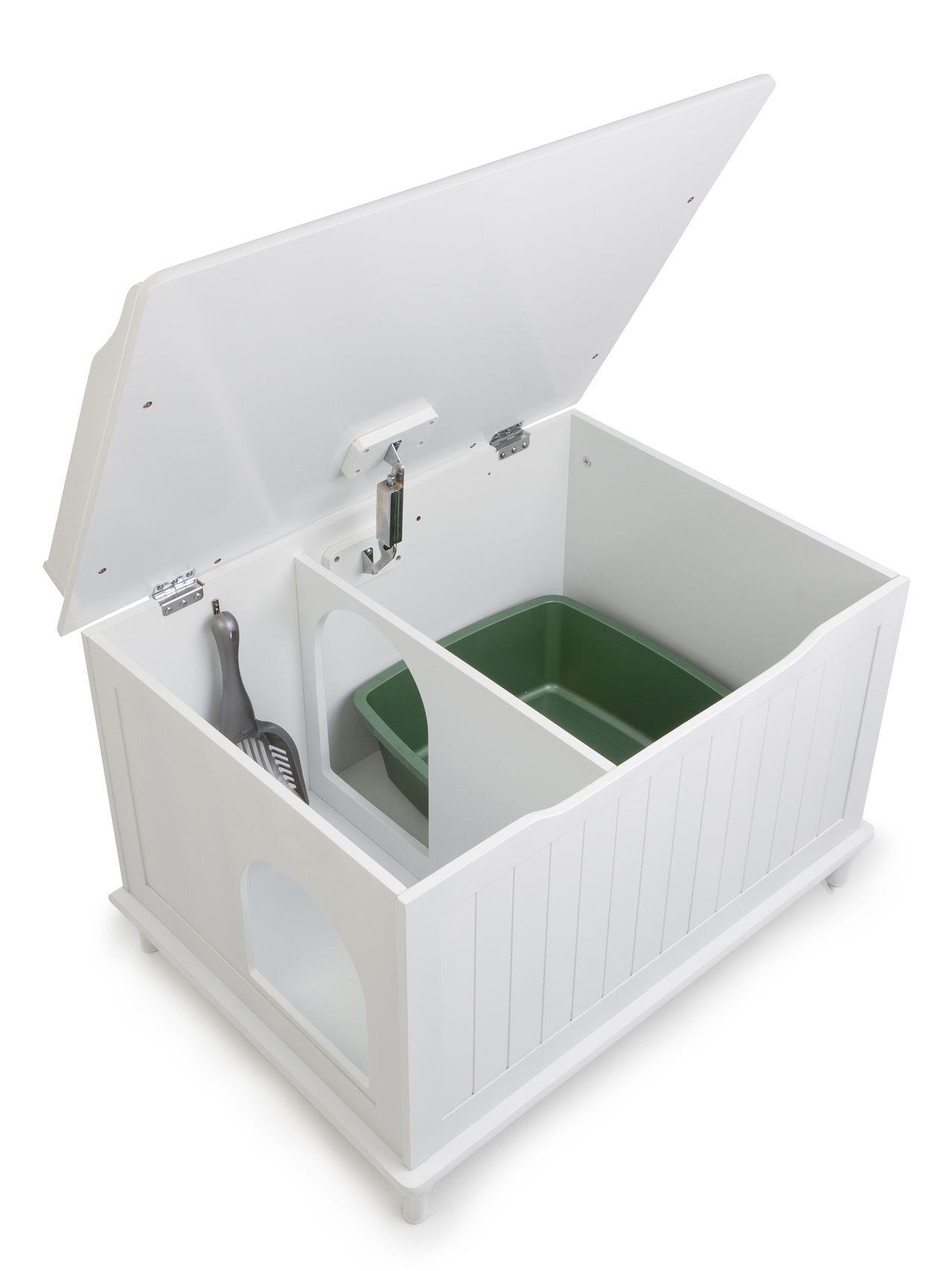 Litter Box Hider Cat Chest White Wood Clean Wooden Hidden Furniture  Washroom NEW