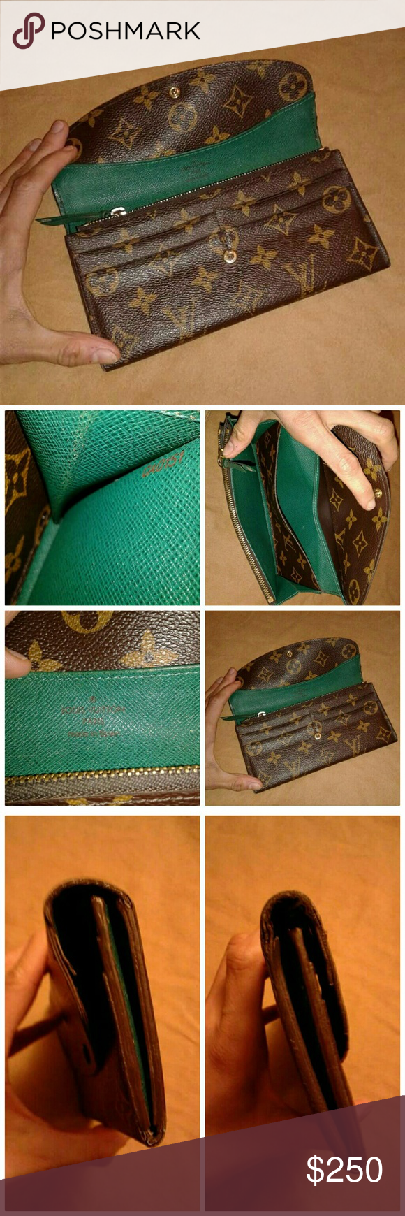 a6768a4b29f2 Auth Louis Vuitton Emilie Wallet Green Auth Louis Vuitton Emilie Wallet  Green Wallet has signs of