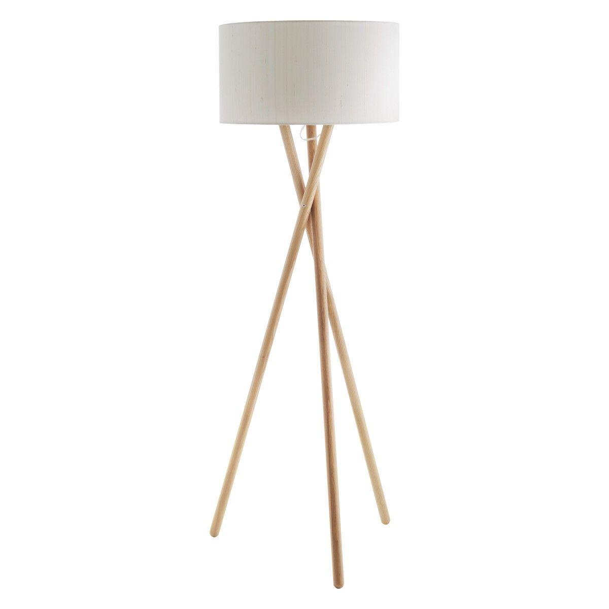 LANSBURY BASE Ash wooden tripod floor lamp | Wooden tripod floor ...