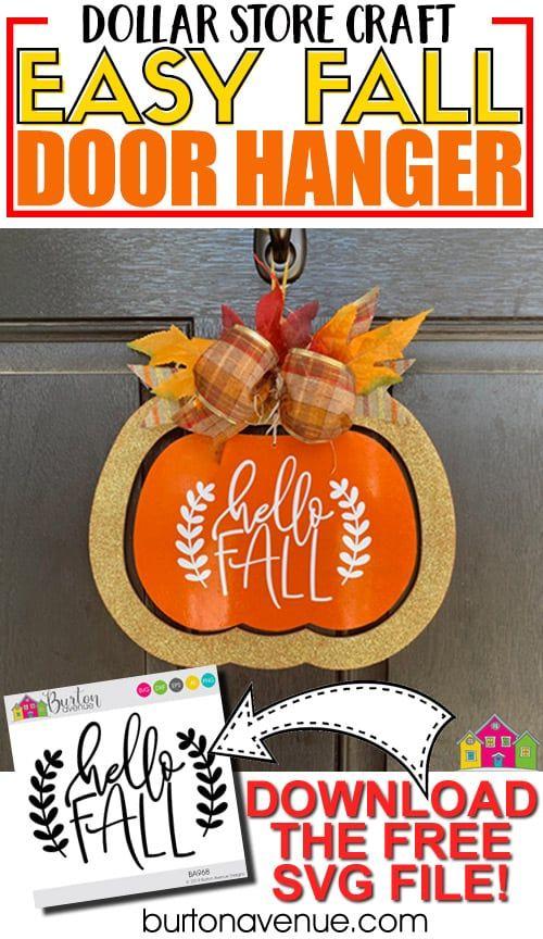 Dollar Tree Makeover: Easy Fall Door Hanger- Burton Avenue with Cricut & Silhouette