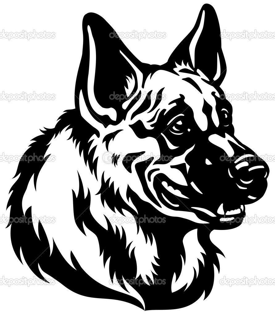 Black And White Illustration German Shepherd Dogs German Shepherd [ 1024 x 891 Pixel ]