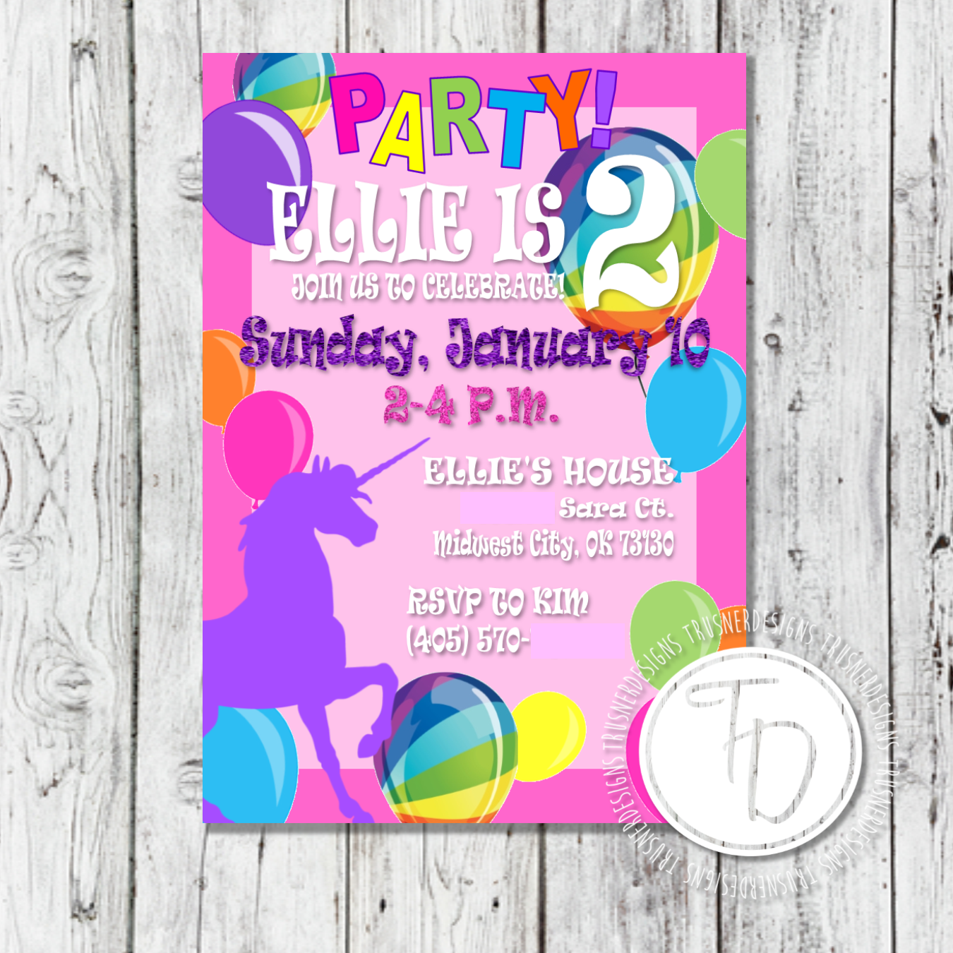 Lisa Frank Inspired Rainbow Unicorn Birthday Invitation By Trusner