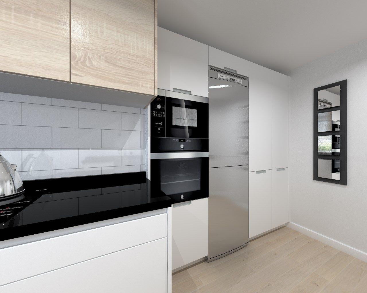 Cocina santos modelo line estratificado blanco con for Encimera de granito negro