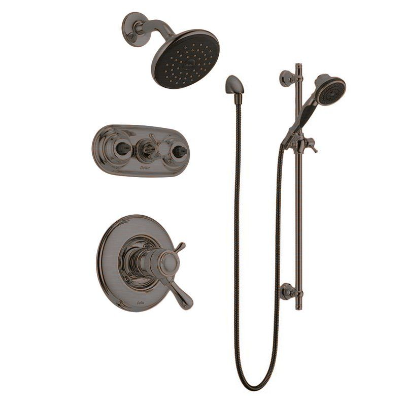 Shop For The Delta Leland Monitor 17 Series Shower Package CH Chrome With  Shower Head, Jetted Diverter Trim, Slide Bar Hand Shower And Wall ...