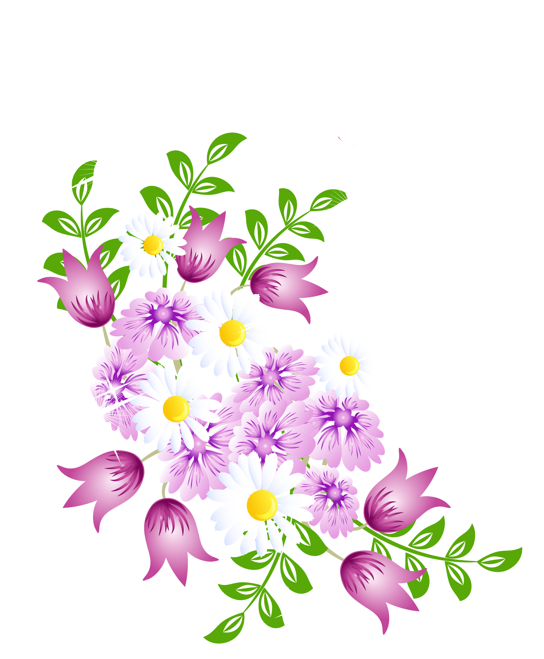 Spring Flowers Decor Png Picture Clipart Cartoon Flowers Spring Flower Decor Flower Painting