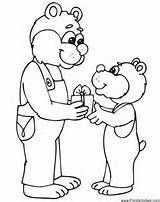 Birthday Coloring Page Papa Bear Giving Son A Gift