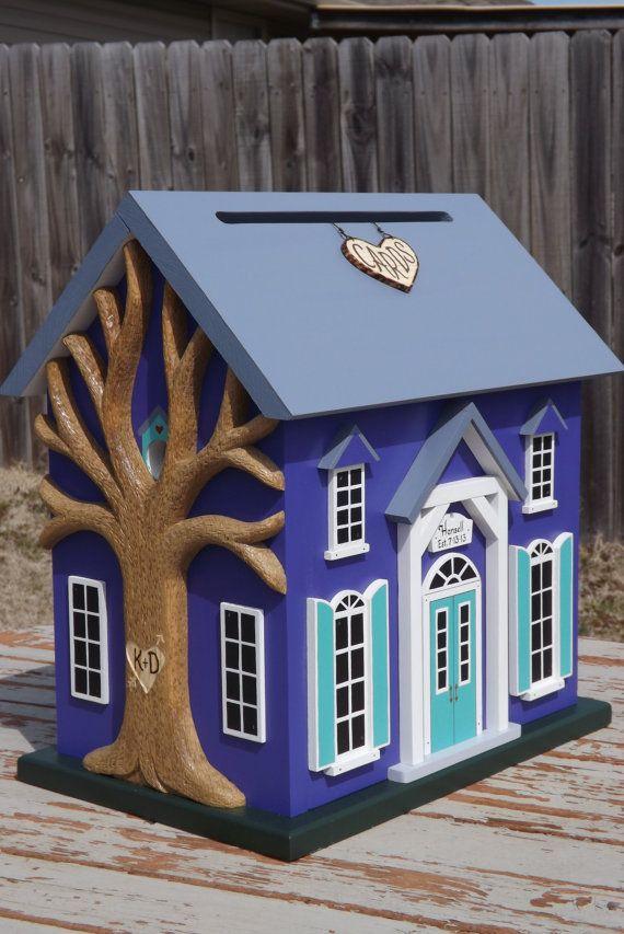 Large Wedding Card Box Birdhouse with Heart by mulberrylanefolkart