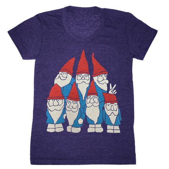 GNOME ENTERPRISES | Handprinted in Brooklyn, New York. Gnomes design on Athletic Indigo - Womens Scoop Neck Baby Doll T-Shirt Printed by hand on