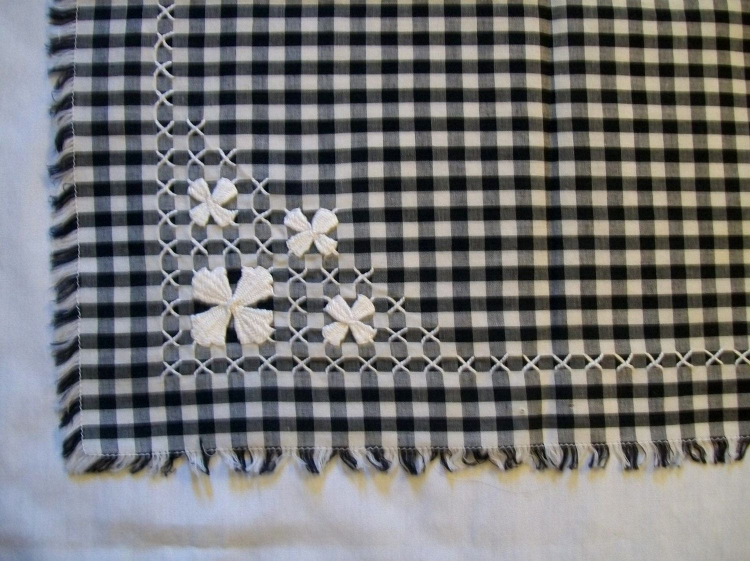 Small Tablecloth, Black Tablcloth, Gingham Tablecloth, Black And White  Gingham Tablecloth, Chicken Scratch Embroidery By VintagePlusCrafts On Etsy