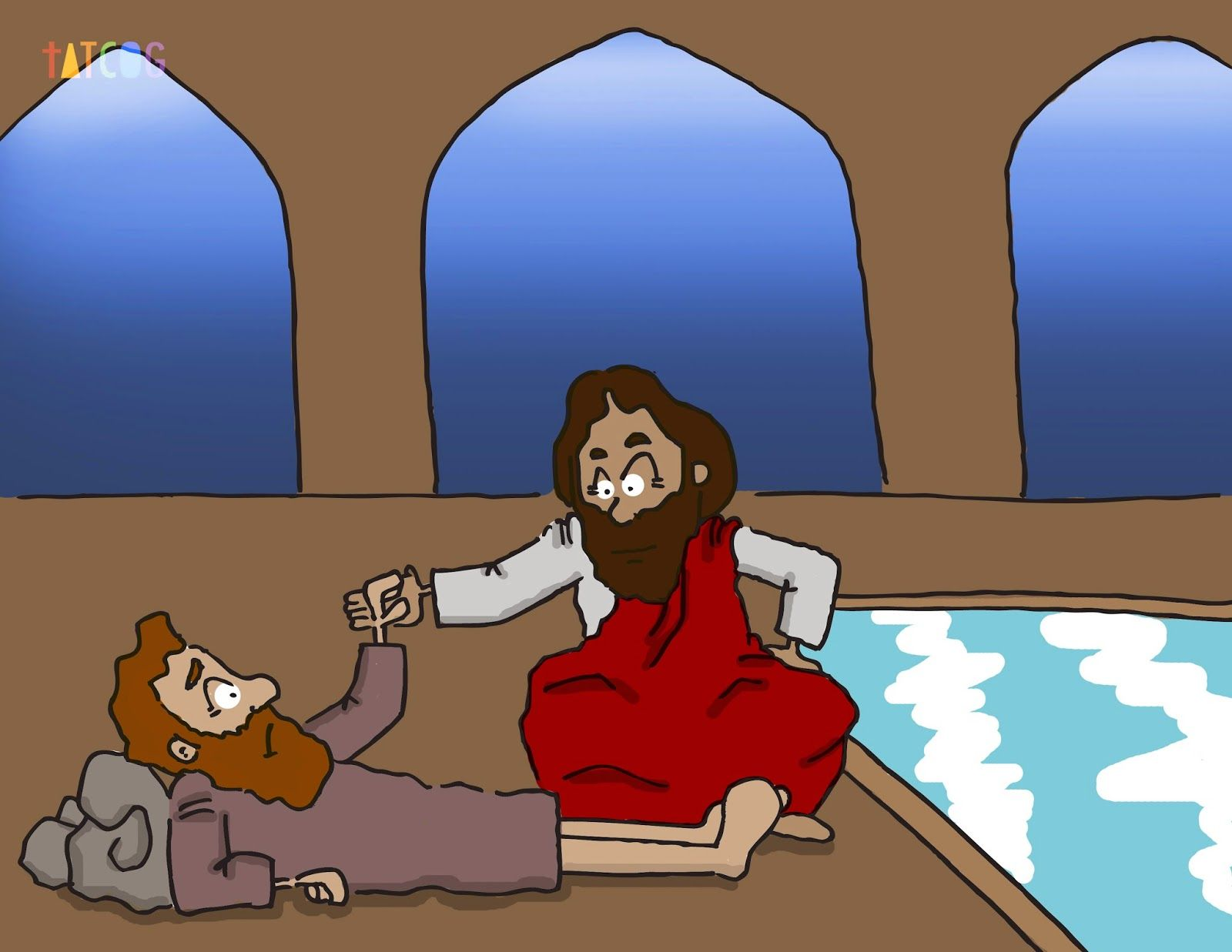Jesus heals at the pool of bethesda clipart pinterest for Healing at the pool of bethesda coloring page