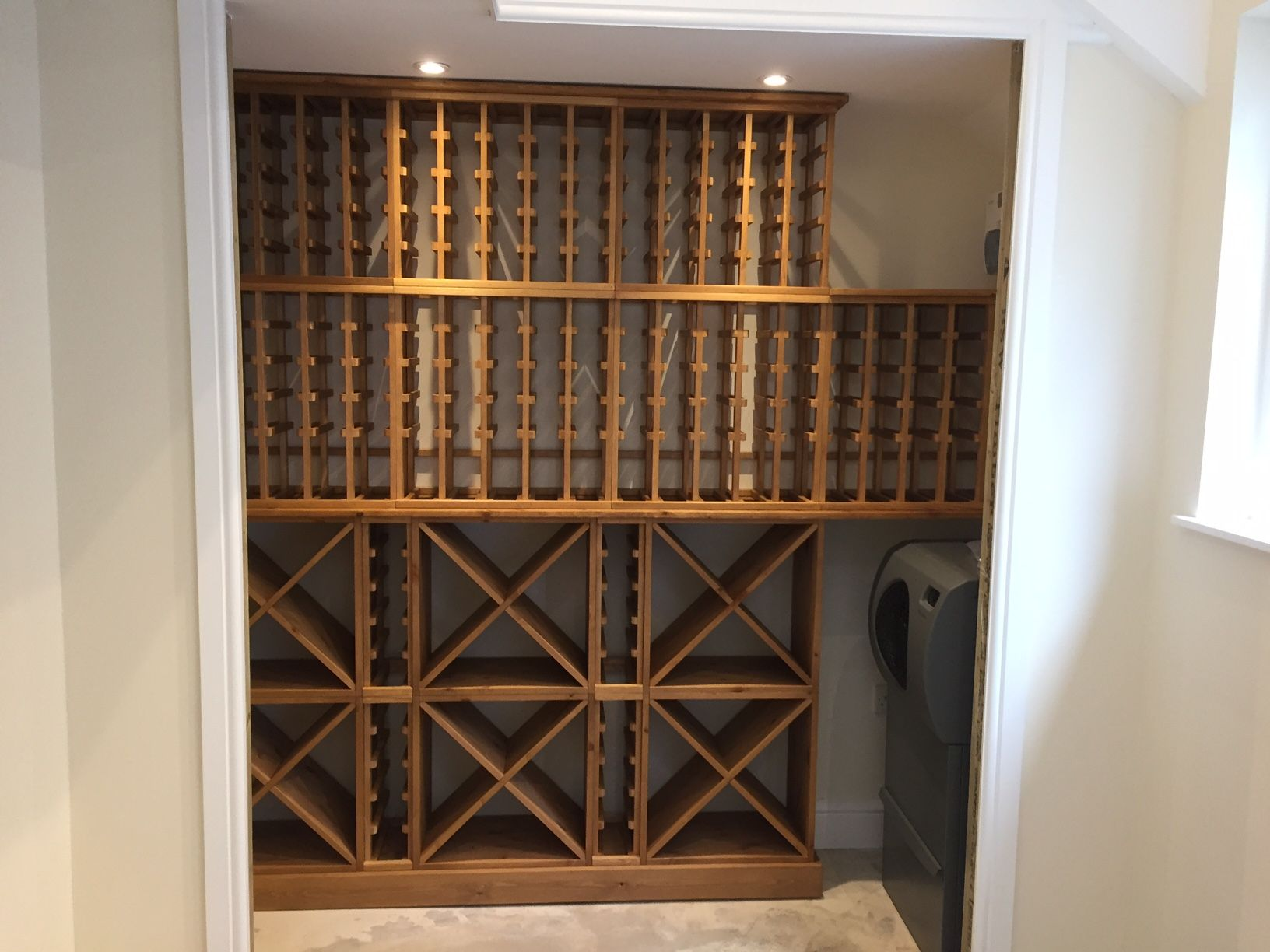 A Mixture Of Solid Pine Wine Racking With Individual Storage Rows, Storage  Cubes And Worktop