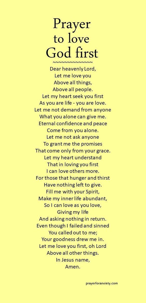 Prayer to love God first