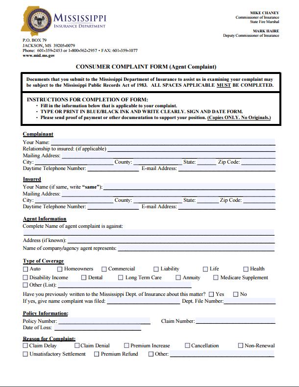 Mississippi Insurance Commissioner Complaint Mississippi