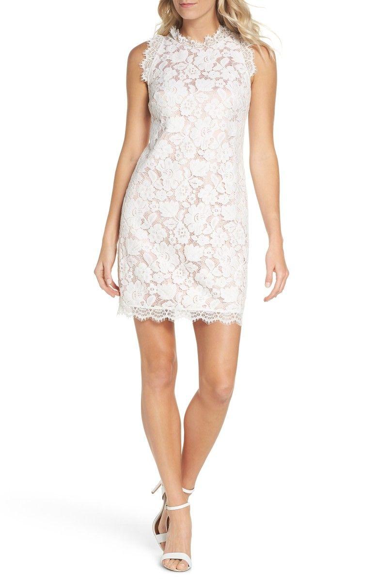 Vince Camuto Sleeveless Eyelash Lace Sheath Dress Regular Petite Nordstrom Trendy Cocktail Dresses Lace White Dress Sheath Dress [ 1197 x 780 Pixel ]