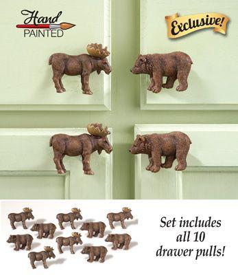 Northwoods Moose Kitchen Cabinet Drawer Pulls Set Of 10 Moose