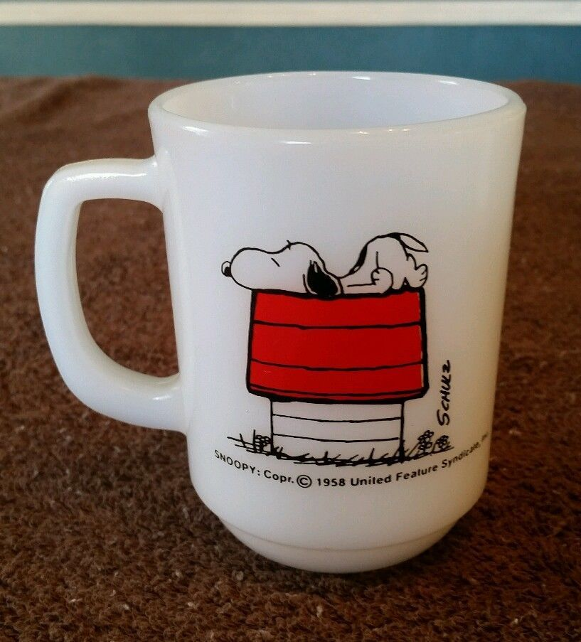 1958 Snoopy Anchor Hocking Allergic to Morning coffee mug Peanuts vtg Schulz cup