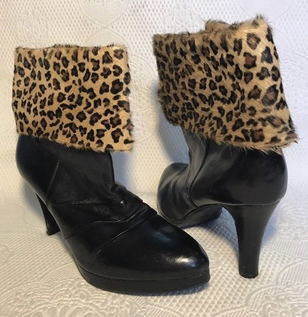 11799052df43 MIZ MOOZ Black Leather Ankle Boots W Leopard Faux Fur Cuff Size 41 (9.5-10)   fashion  clothing  shoes  accessories  womensshoes  boots (ebay link)
