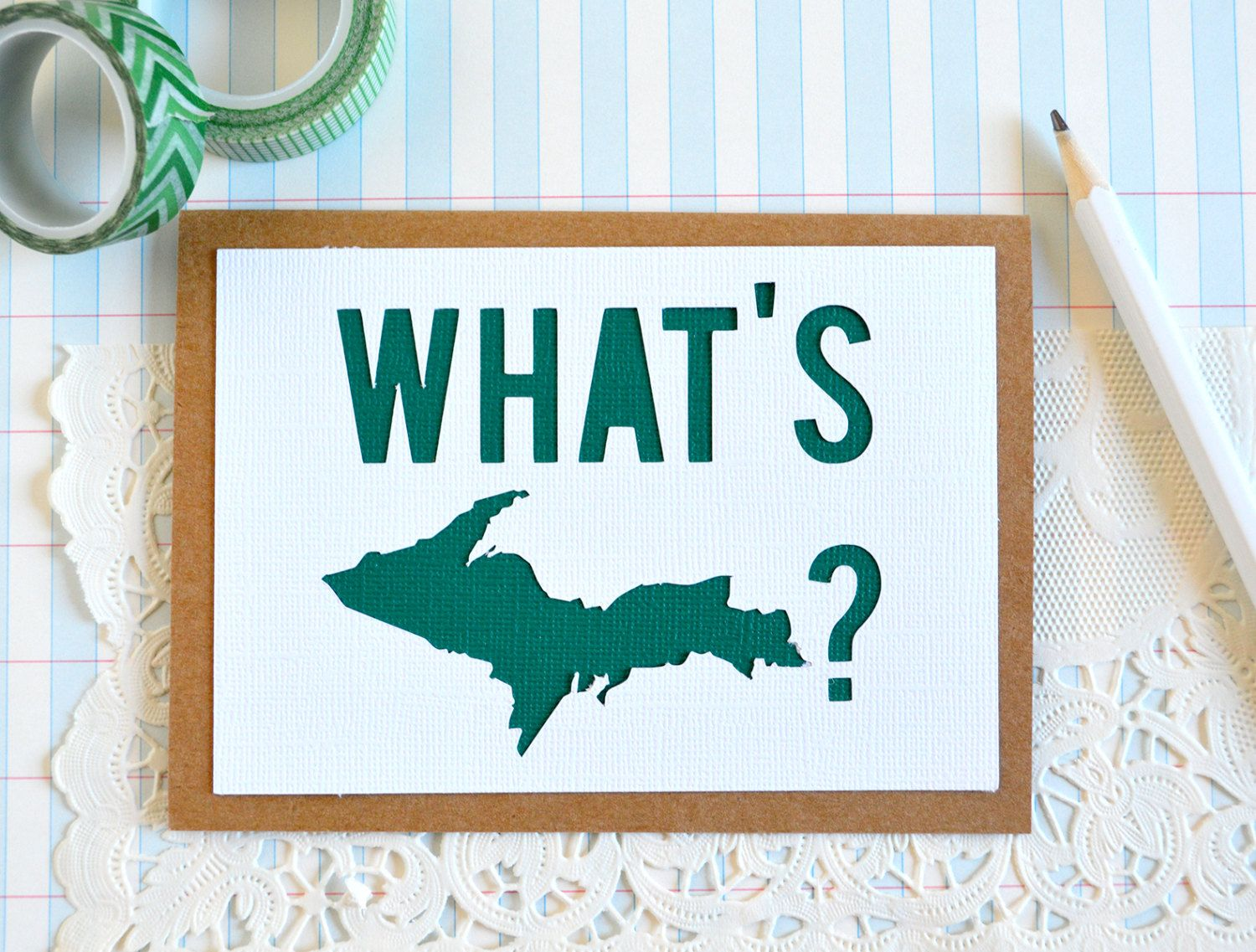 Funny just because card michigan greeting card whats up card new to typeshyshop on etsy funny just because card michigan greeting card whats up card thinking of you card hello card note card blank card m4hsunfo
