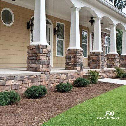 Stupendous Outdoor Landscaping Using Faux Stone Brick Panels Download Free Architecture Designs Pushbritishbridgeorg