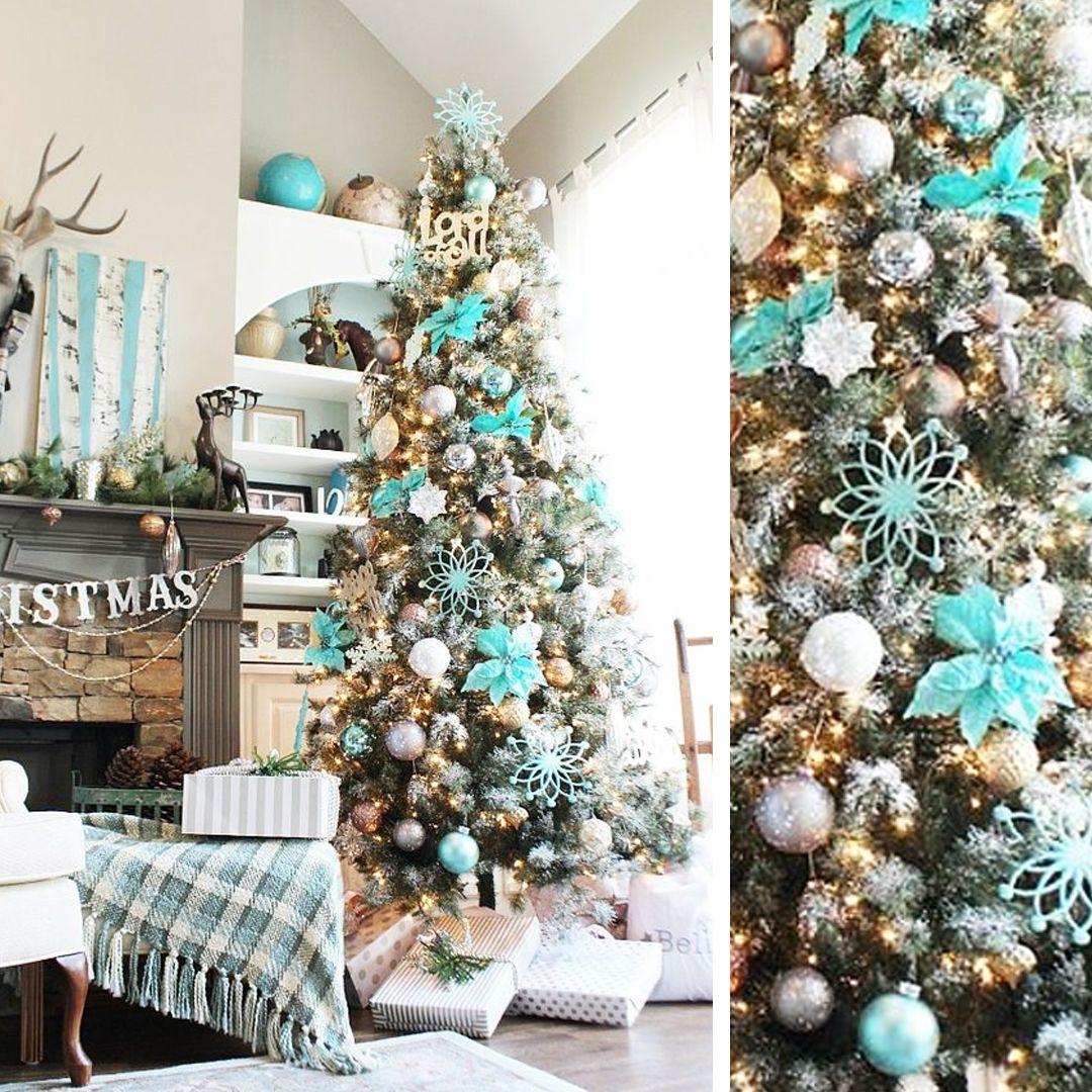 Arbol De Navidad Decorado En Azul