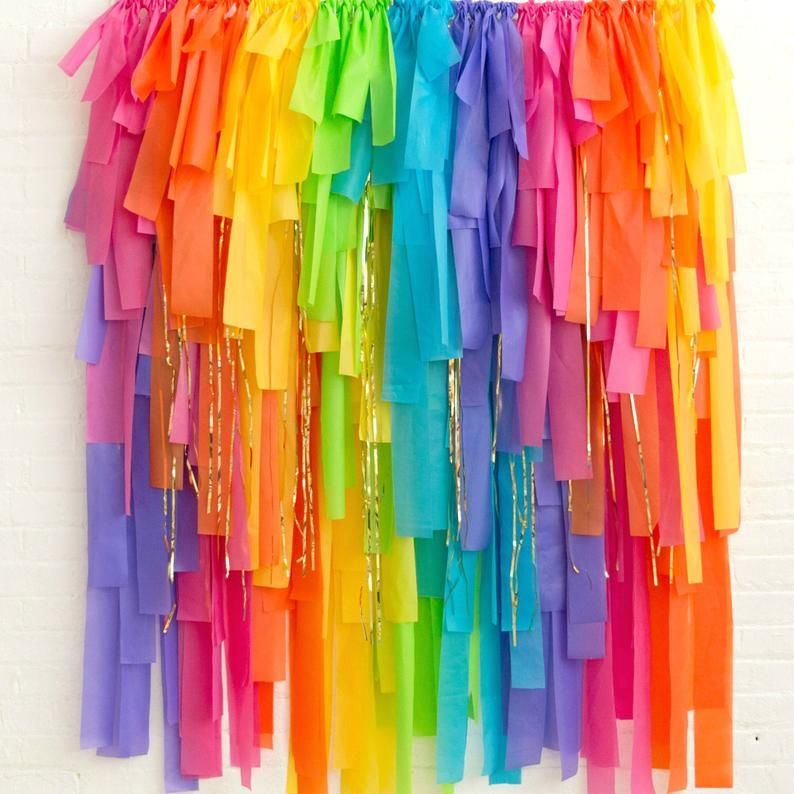 Rainbow Bright DIY Streamer Fringe Backdrop - Rainbow Party Decor - Rainbow Fringe