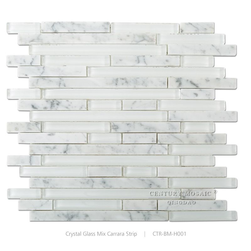 Linear Backsplash Glass Mix White Carrara Marble Mosaic Kitchen